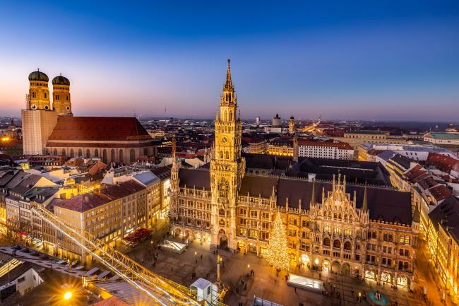 Blick auf München und den Marienplatz